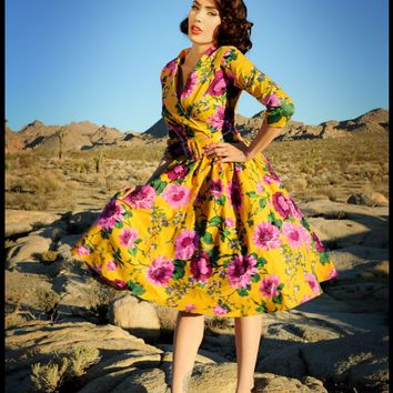 Pinup Couture - Birdie Dress in Mustard and Purple Floral with Three-Quarter Sleeves | Pinup Girl Clothing