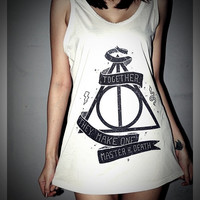 Deathly Hallows Harry Potter Tank Top Shirt T-Shirt Women & Men Unisex Size M , L