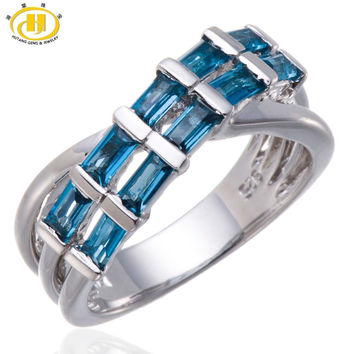 HUTANG REAL LONDON BLUE TOPAZ GEMSTONE SOLID STERLING SILVER 925 CROSS RING ETERNITY STYLE