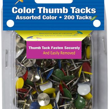 BAZIC Assorted Color Thumb Tack (200/Pack) Case Pack 24