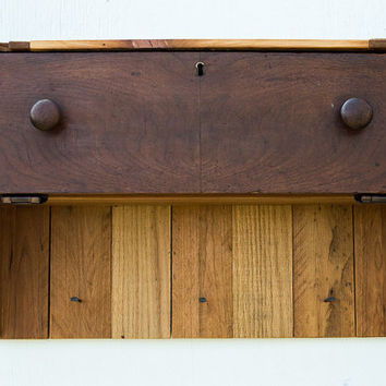 Reclaimed Wood Shelf with Hooks and Hinged Drawer - Shelf with Hooks - Key Hooks - Sustainable Furniture - Hat Hooks - Entryway Organizer