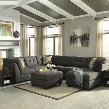 3 pc delta city collection steel fabric upholstered sectional sofa with chaise and tufted backs