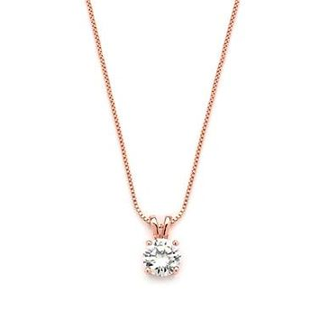 A Perfect 14K Rose Gold 1.2CT Round Cut Russian Lab Diamond Solitaire Pendant Necklace