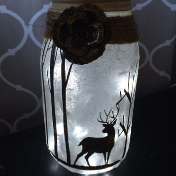 Deer Night Light, Mason Jar Lights, Hunting Theme, Woodland Decor, Jar Lighting, Rustic Decor, Deer Centerpiece, Country Decor, Deer vase