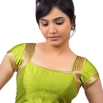 Gorgeous Lime Green Silk Party-Wear Sari Blouse SNT-X-257-SL
