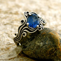 Custom Made Synthetic Blue Sapphire Ocean Sea Surf Engagement Ring in Sterling Silver and Blackened Grooves