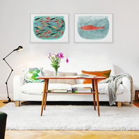 Modern Watercolor Sea Fish Tank Art Prints Poster Cartoon Animal Wall Picture Canvas Painting No Framed Kitchen Home Decoration