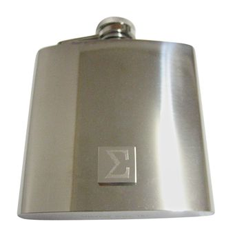 Silver Toned Etched Mathematical Greek Sigma Symbol 6 Oz. Stainless Steel Flask
