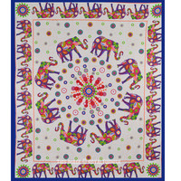 Large Colorful Elephant Mandala Tapestry Hippie Cotton Indian Bedspread on RoyalFurnish.com
