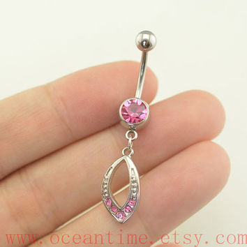 BellyButton ring,pink belly button rings,simple Navel Jewelry,friendship belly button jewelry,oceantime