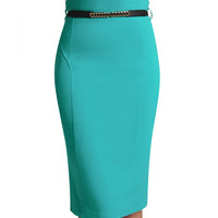 Womens Fitted High Waisted Midi Skirt with Stretch