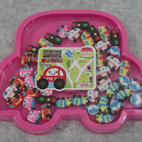 Small Car Eraser In Pink Soft Plastic Case - 42pcs/case