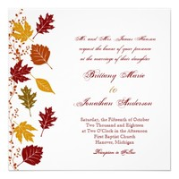 Falling Leaves Autumn Fall Wedding Invitations