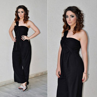 Elegant One Shoulder Ruched Jumpsuits