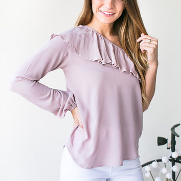 Wide Open Spaces One Shoulder Ruffle Top - Pink