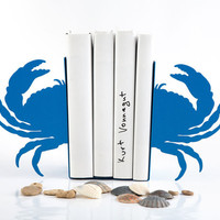 Bookends -Crab light blue - unique, stylish and useful decor bookends sea theme