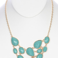 Turquoise Lucite Stone Cluster Necklace