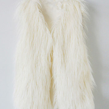V-Neck Faux Fur Vest Jacket