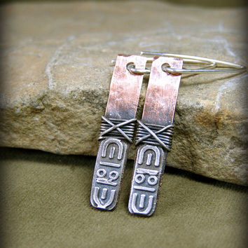 Tribal Earrings, Copper Silver Earrings, Tribal Jewelry, Metalsmith Earrings, Southwest Jewelry, Native American Style, Bohemian Earrings