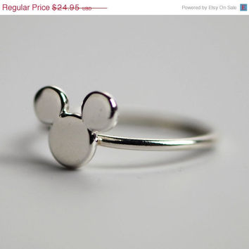 ON SALE Mickey Mouse Ring - Disney Ring - Disney Jewelry - Mickey Mouse Jewelry - Argentium Sterling Silver - Handmade