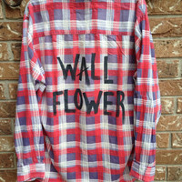 "Soft flannel plaid shirt hand painted with ""Wall Flower"" .....soft grunge, hipster"