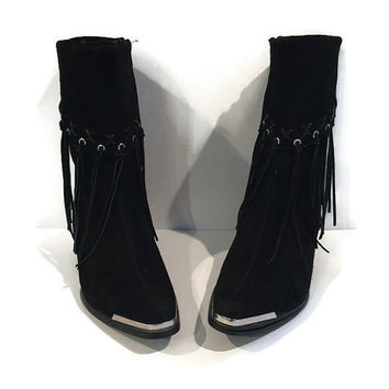 Fringe boots, leather fringe boot black, fringe ankle boot, metal tipped boot, black leather bootie, womens boot size 9, western fringe boot