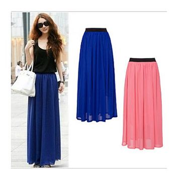 Hot Sale 2015 Summer Fashion Bohemian Double Layer Chiffon Pleated Elastic Waist long Maxi Skirt Drop Shipping