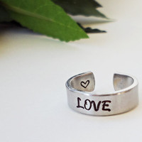 Love Ring - Personalized Ring - Promise Ring - Handstamped Ring - Girlfriend Gift - Aluminum Ring - Adjustable Ring - Valentine Gift