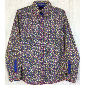 Cowgirl Up Floral Button Up Shirt Western Blue Pink Yellow Blouse Top Rodeo S