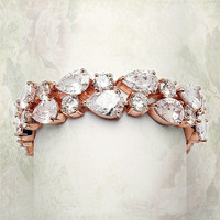 Bold CZ Pears Bridal Statement Bracelet in Silver Rhodium
