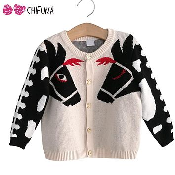 chifuna Kids Sweater Outwear Cute Horse Children's Cardigan Autumn Winter Knit Wear 2017 New Fashion Boys Girls Coat