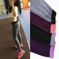 [4 COLORS] WOMEN'S FASHION Fashion Women Yoga Sports Casual Spandex Cotton High Waist Leggings Pants