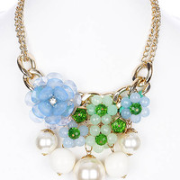 NECKLACE / PEARL / FLOWER / LUCITE BEAD / CRYSTAL BEAD / BIB / MULTI STRAND / METAL CHAIN / LINK / 3 1/2 INCH DROP / 14 INCH LONG / NICKEL AND LEAD COMPLIANT