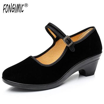 Women Casual Shoes Good Quality Black Three Types Buckle Strap Flats Spring Autumn Wear Solid Comfrotable Shoes Plain Flock