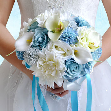 Blue Ivory and White Silk Flowers Wedding Bridal Bouquet