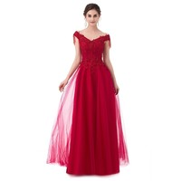Fashion New The Bride Luxury Long Evening Dress Wine Red Lace Embroidery with Beading Floor-length Formal Gowns