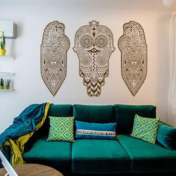 ik2383 Wall Decal Sticker Africa African mask shield motif decoration living room bedroom