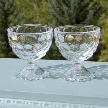 Boopie Pedestal Bowls Candlewick Bubble Glass Set of 2