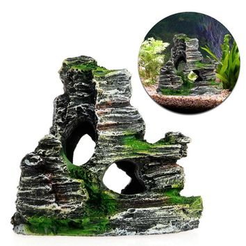 Mountain View Aquarium Rockery Hiding Cave Tree Fish Tank Ornament Decoration New
