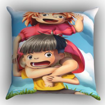 PONYO STUDIO GHIBLI Y1023 Zippered Pillows  Covers 16x16, 18x18, 20x20 Inches