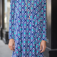 Daring Diamonds Tunic, Navy/Mint