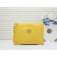 GUCCI Newest Popular Woman Leather Clutch Bag Leather Tote Handbag Yellow