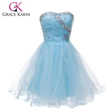 Grace Karin Blue Black White Short Cocktail Dresses Strapless Formal Cute Ball Gown Sexy Party Gown Strapless Prom Dress