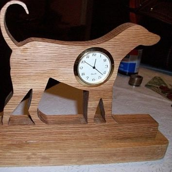 Dog miniature wooden desk clock