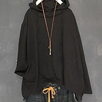 Women's Cotton T-Shirt Tops Blouse Long Sleeve With Hood Casual Loose Fitting