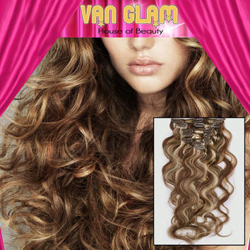 """Naturally Curly//Clip In//Hair Extensions//Natural Highlights//22"""""""