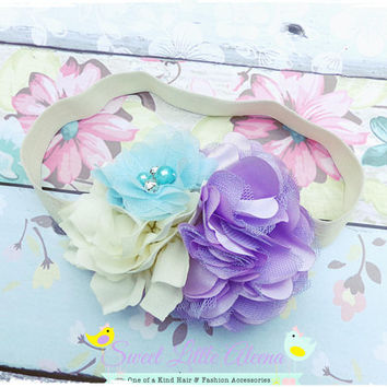 Cream Purple Aqua Headband, Big Toddler Headband, Flower Hair Bows, Birthday Headband, Baby Girl Headbands, Big Hair Accessory, Newborn Bows
