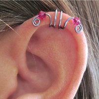 "No Piercing ""Crystal Double Up"" Ear Cuff for Upper Ear 1 Cuff Gunmetal Fuschia Crystals or 16 COLOR CHOICES"