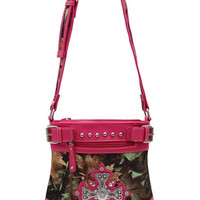 Camouflage Print Rhinestone Cross Messenger Bag in Fuchsia M