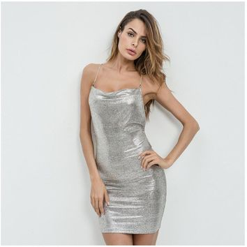 Low chest chain Sliver glitter Sequined Sexy Dress Women Backless sleeveless slim Sundress Party metal sling Dress Vestidos